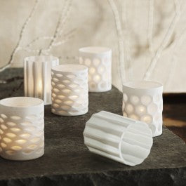 Hand-carved White Votives S/6