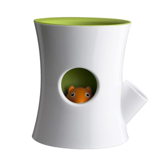 Qualy Log & Squirrel Self-Watering Plant Pot - White/Green