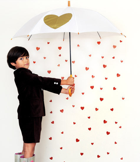 Heart Printed White Umbrella