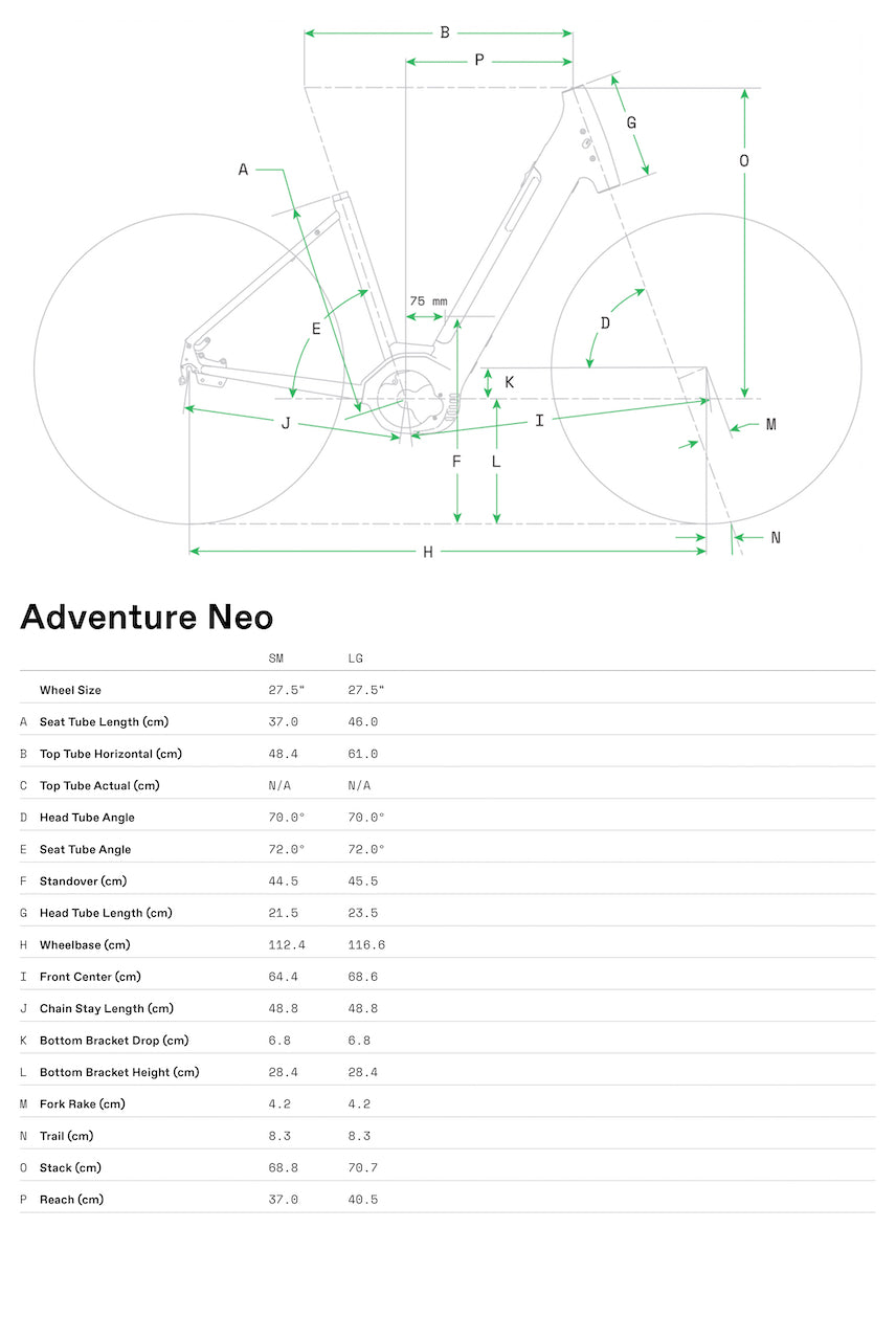 Cannondale Adventure Neo 4 Geometry Size Chart