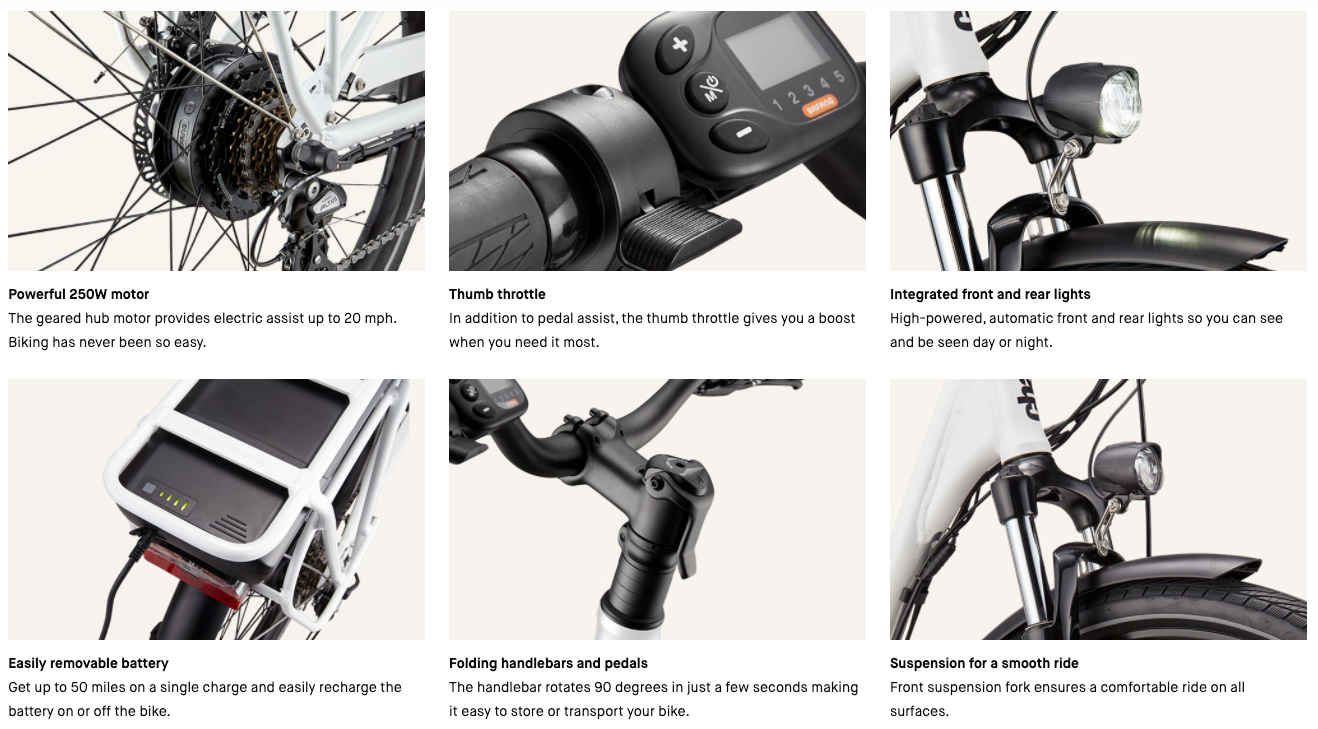 Charge Comfort Electric Bike Features