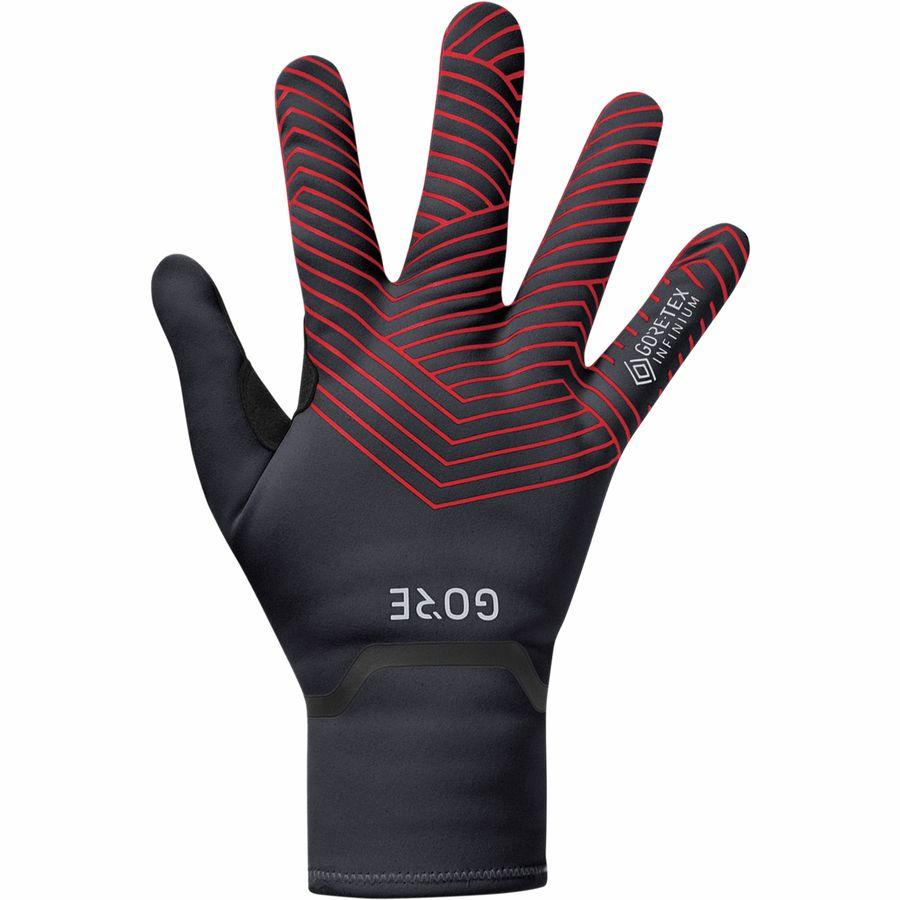 GORE C3 GORE-TEX INFINIUM™ Stretch Mid Gloves - Black/Red, Full Finger-Oregon E-Bikes