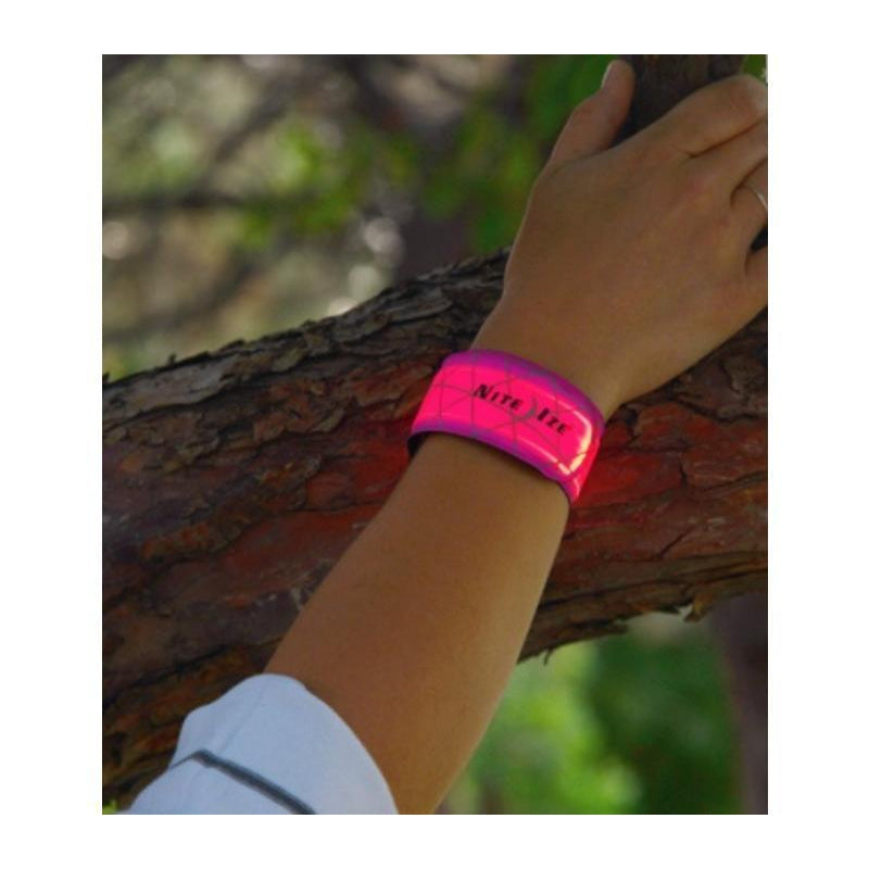 SlapLit LED Bracelet with Wavy Grid: Red-Oregon EBikes
