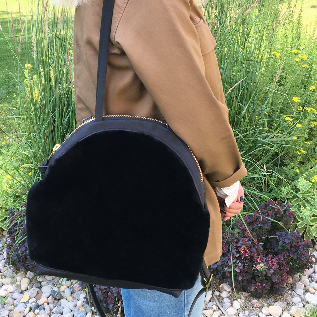 Black Shearling Annie Bag (Large)