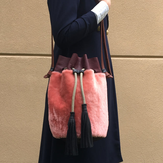 Pink Shearling Christie Bag (Large)