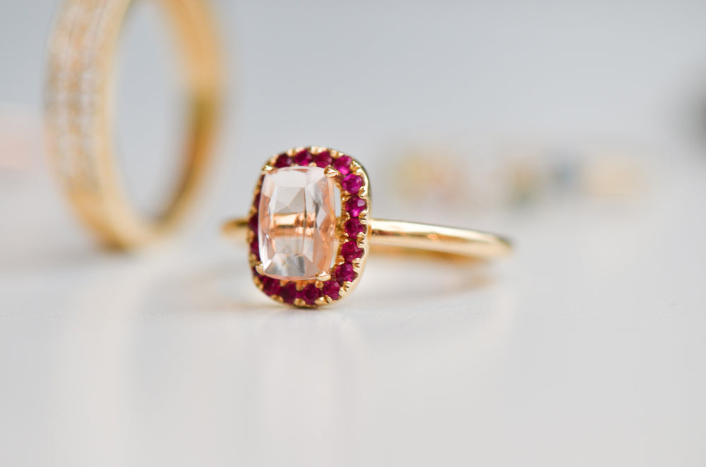 Halo ring with morganite and ruby