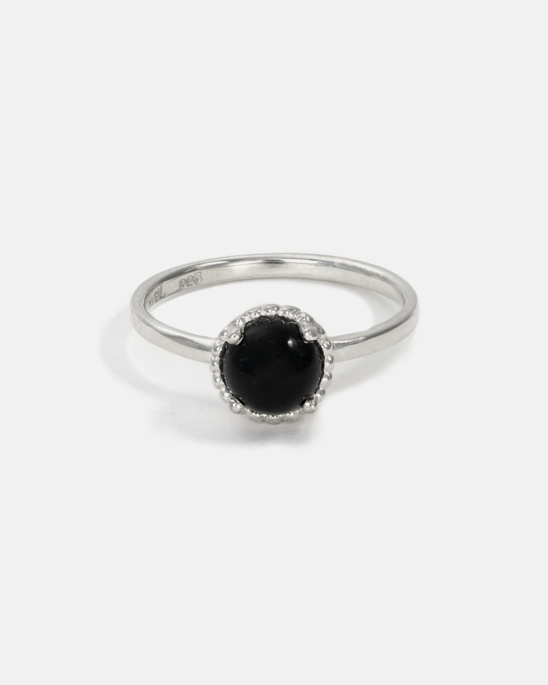 Round Galatée Ring in Silver with Onyx