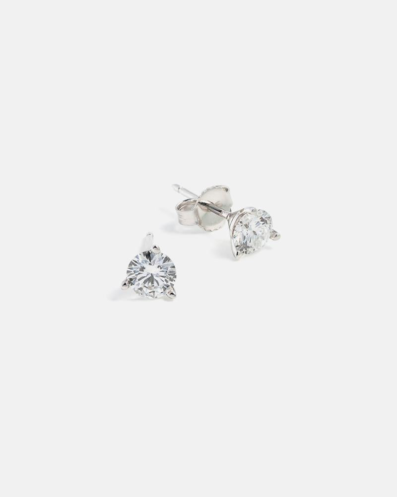 Lab-Grown Diamond Stud Earrings in White Gold (0.75 carats)
