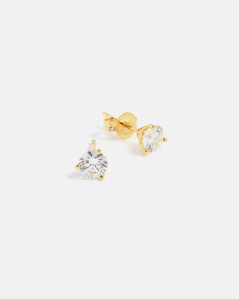 Lab-Grown Diamond Stud Earrings in Yellow Gold (0.75 carats)