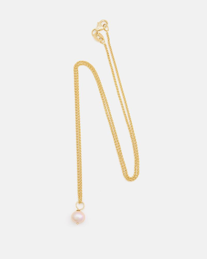 Pom-pom Pendant in Yellow Gold with Pink Pearl