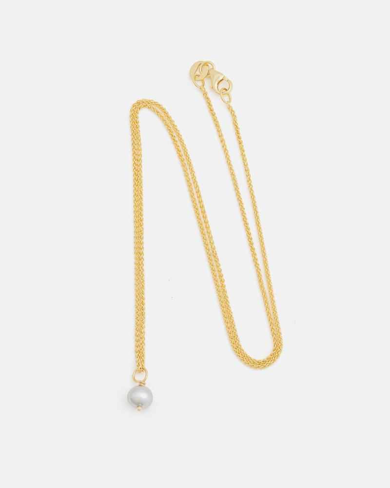 Pom-pom Pendant in Yellow Gold with Grey Pearl