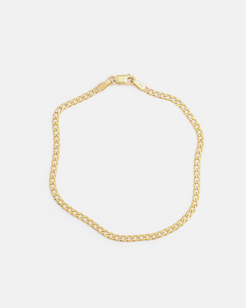 Thin Curb Bracelet in 10K Yellow Gold