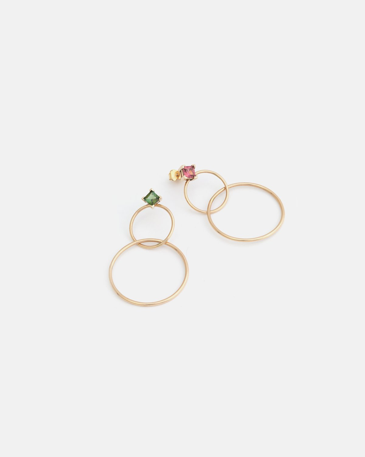 Hydromel Double Earrings in Yellow Gold with Pink and Green Tourmalines