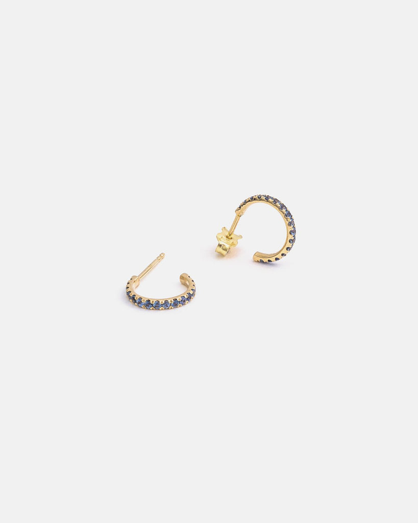Small Pavé Hoops in Yellow Gold with Sapphires