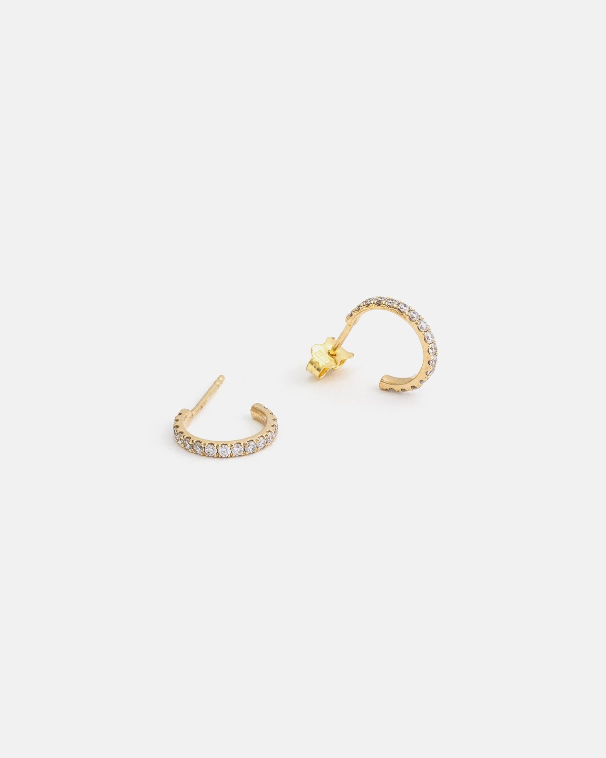 Small Pavé Hoops in Yellow Gold with Diamonds