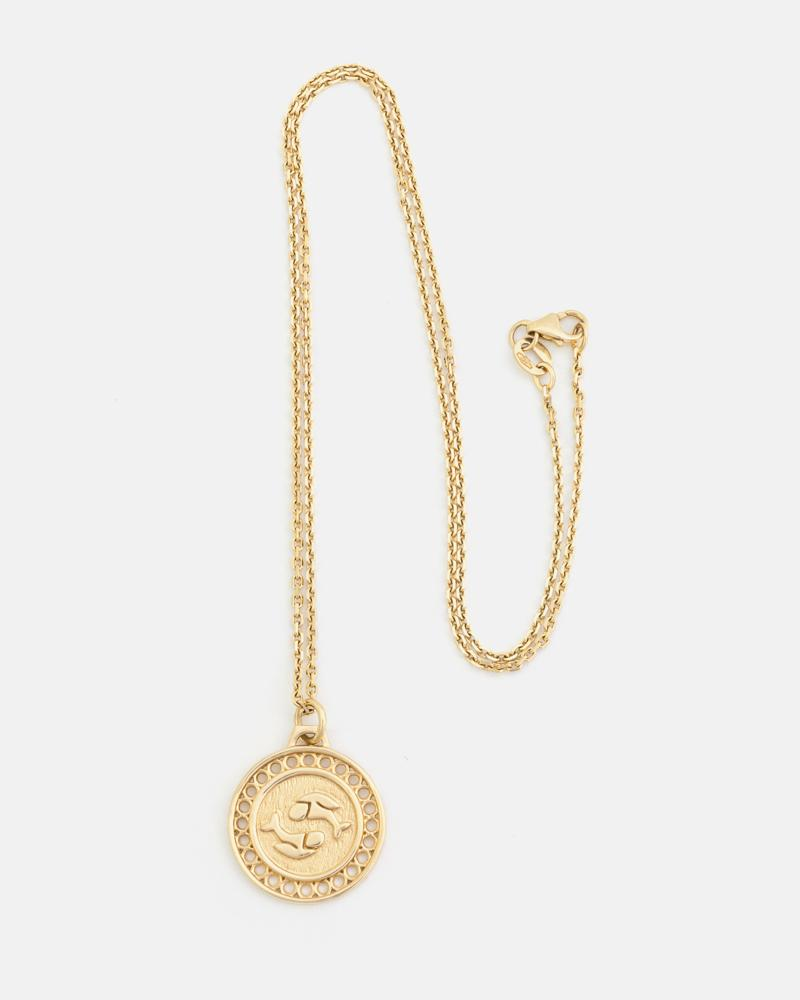 Zodiac Pisces Necklace in Yellow Gold