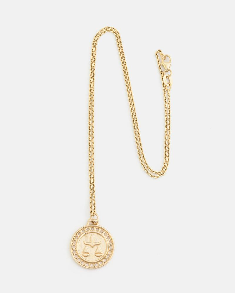 Zodiac Libra Necklace in Yellow Gold