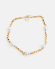 Pom-pom Bracelet in Yellow Gold with White Pearls