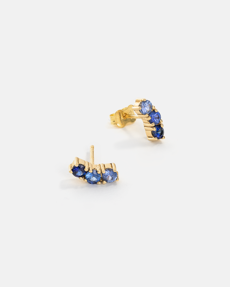 Iris Earrings in Gold with Sapphires