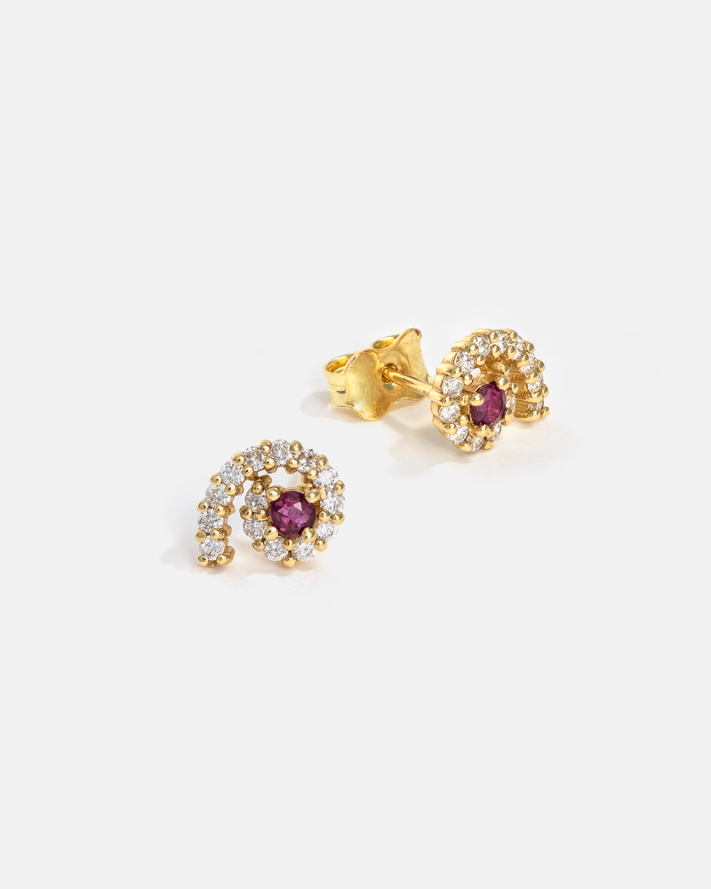 Hypnosis Earrings in Yellow Gold with Ruby and Diamonds