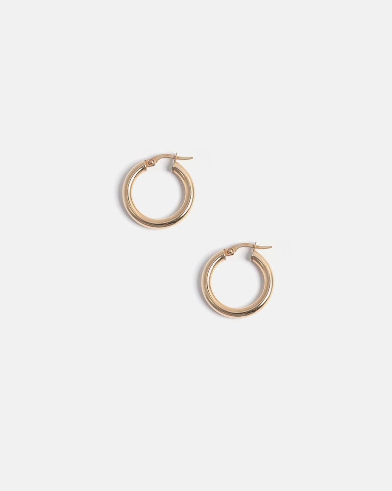 Small Thick Hoops in Yellow Gold