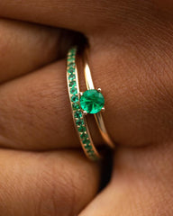 Pavé Ring in Yellow Gold with Emeralds