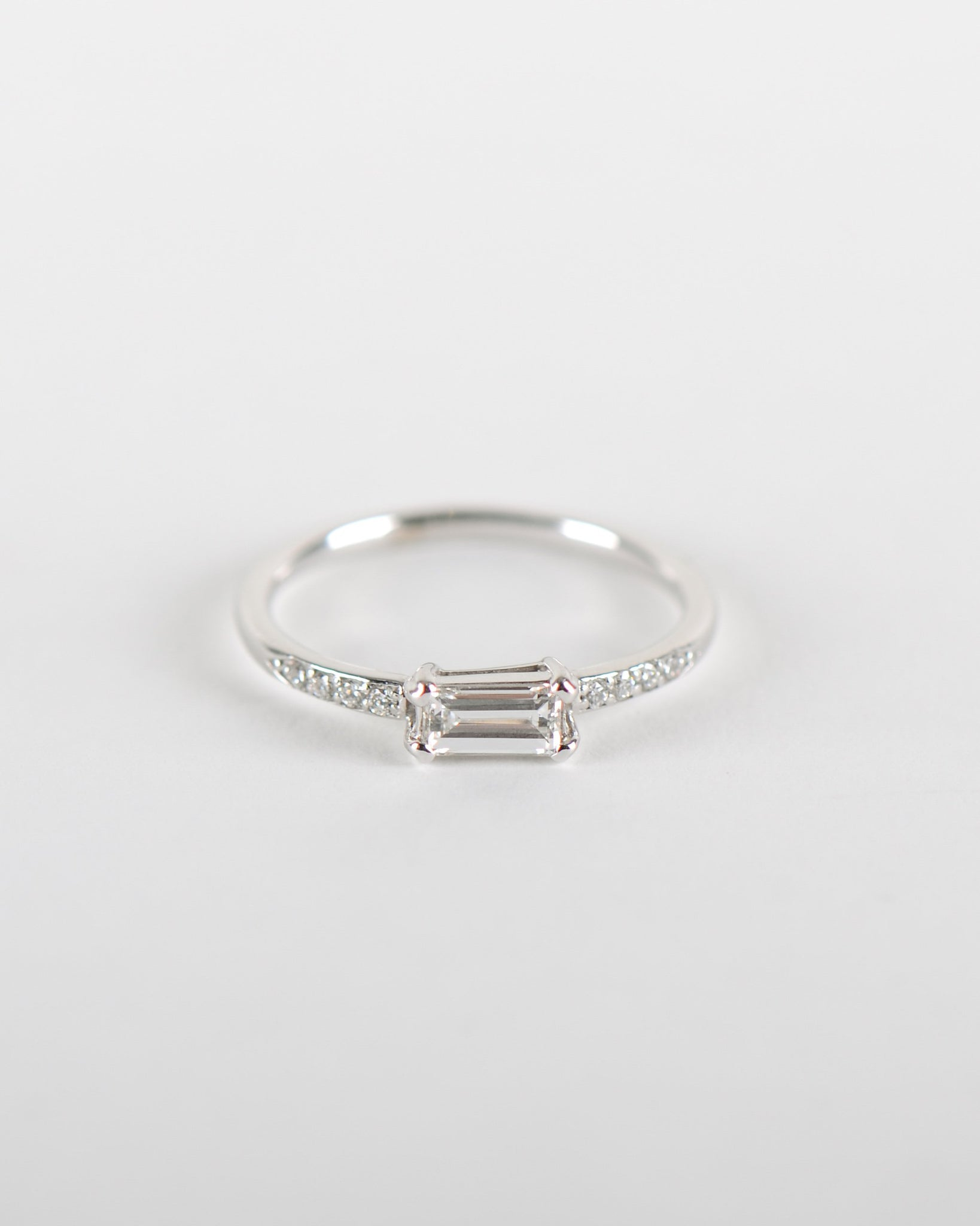Baguette Ring with Lab Grown Diamond in White Gold