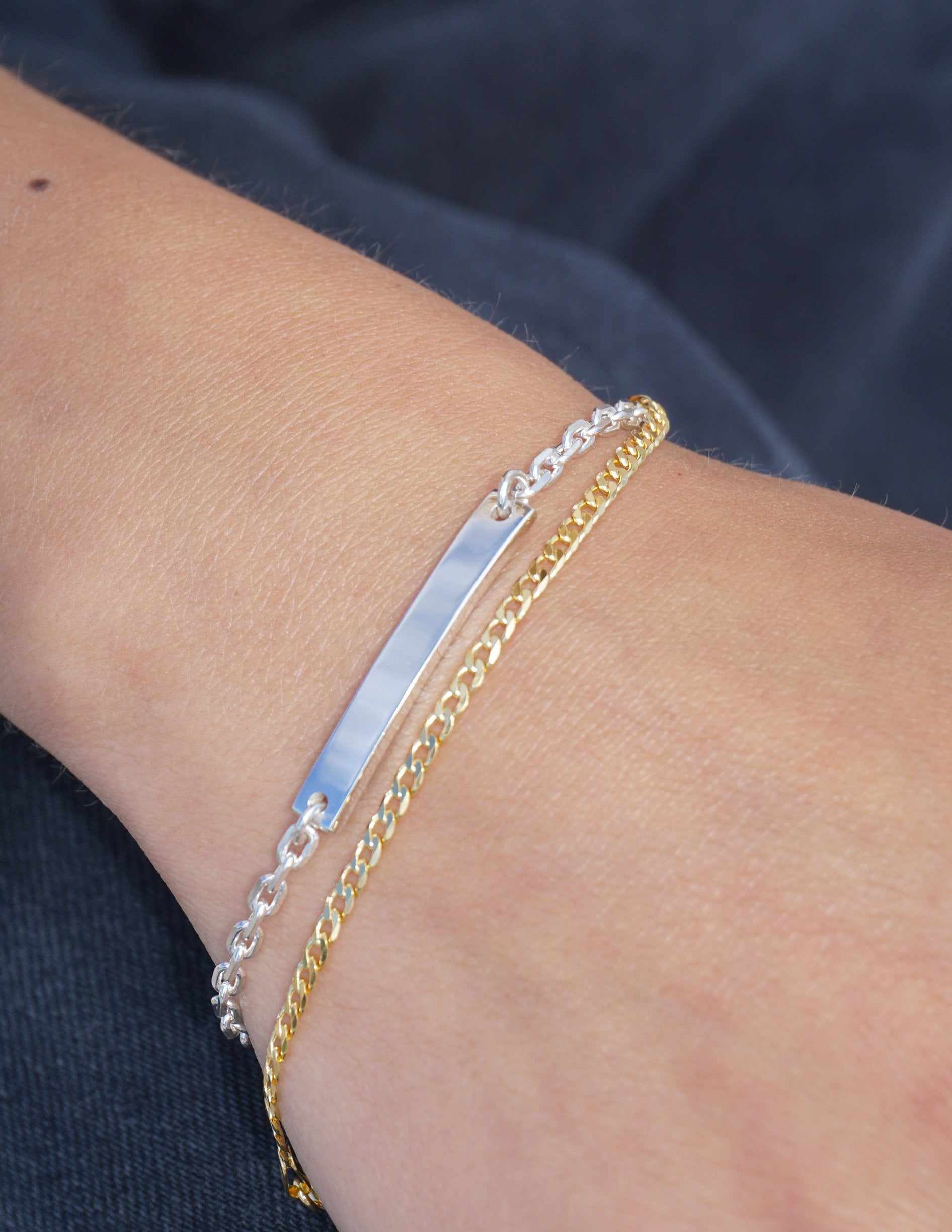 Thin Curb Bracelet in 10K Yellow Gold Worn