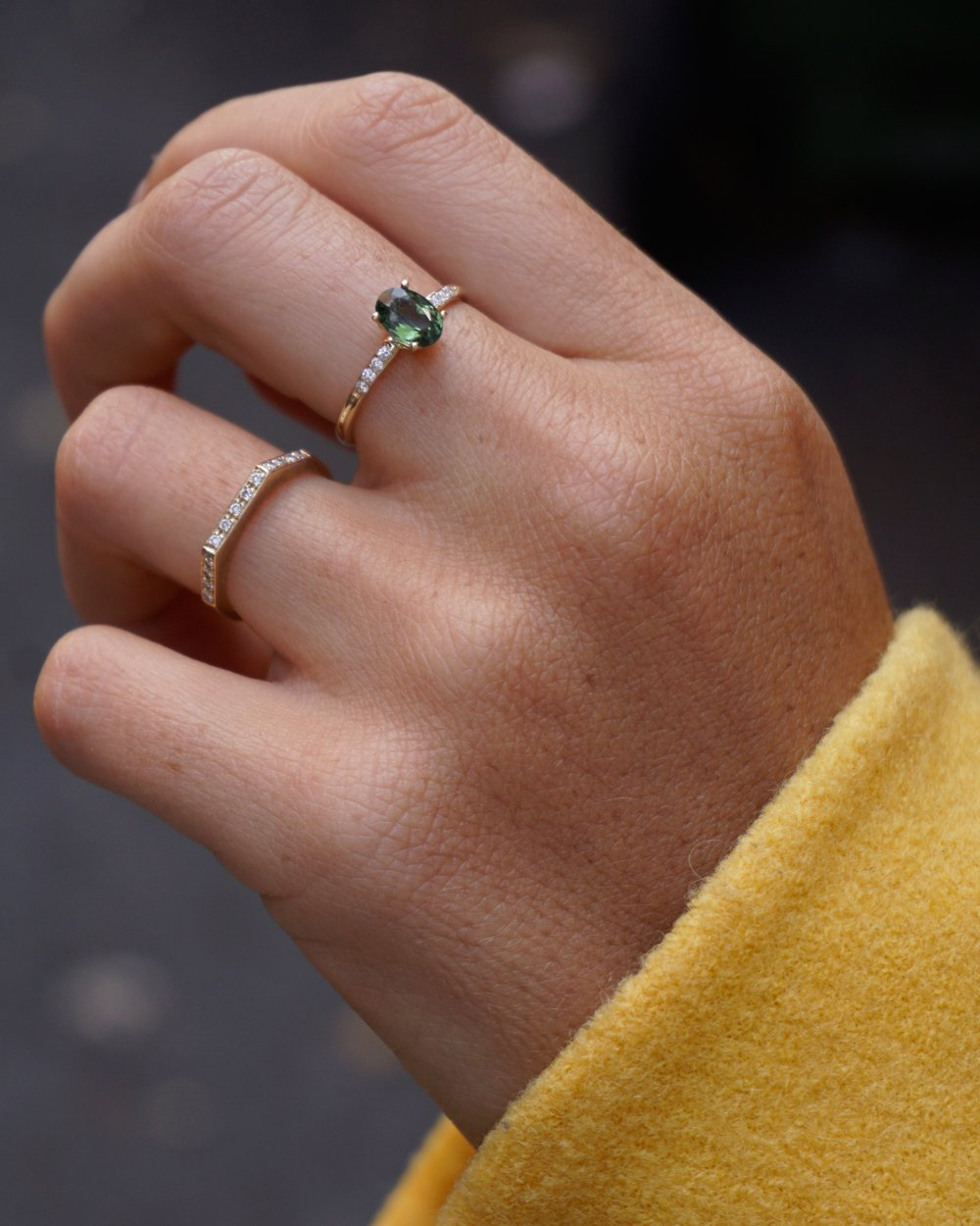 Ellipse Ring in Yellow Gold with Green Tourmaline and Lab Grown Diamonds