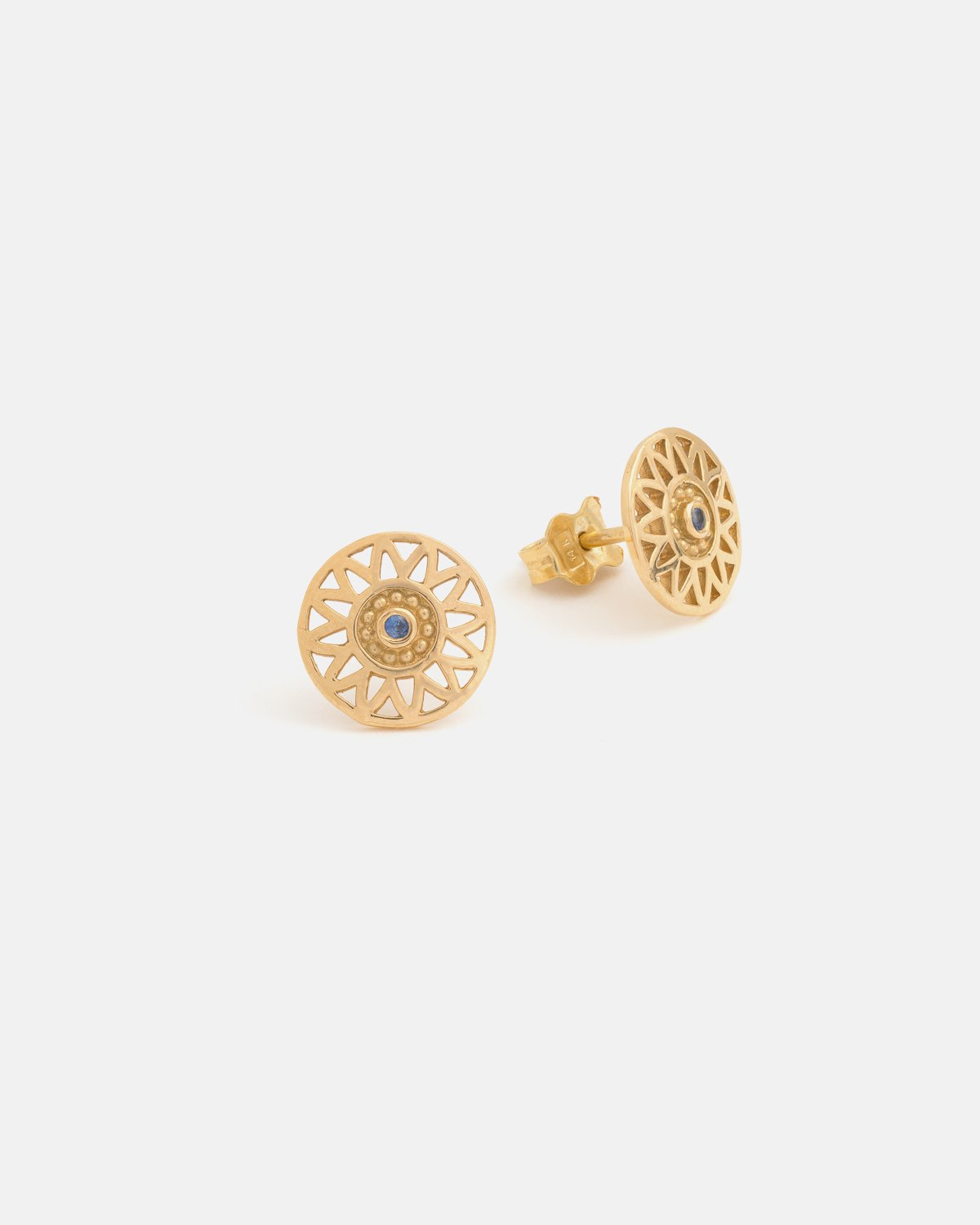 Helios Earrings in Yellow Gold with a Sapphire