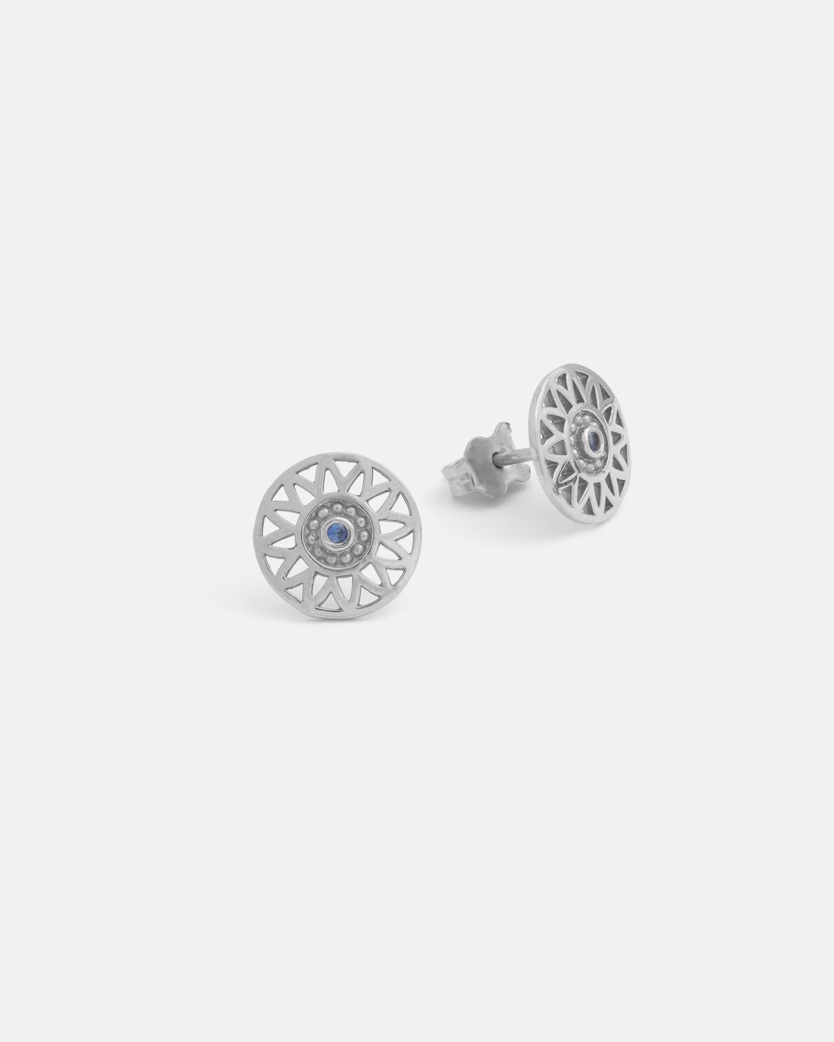 Helios Earrings in Silver with a Blue Sapphire