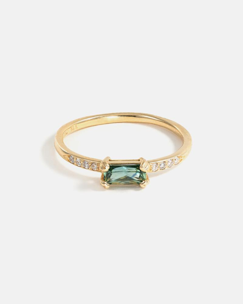 Baguette Ring in Fairmined Gold with Tourmaline and Diamonds