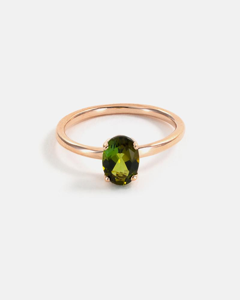 Ellipse Ring in Rose Gold with Green Tourmaline