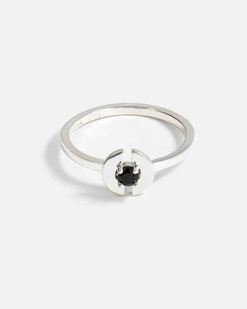 Stein Ring in Silver with Black Spinel