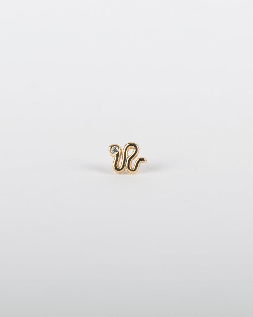 Snake Earring in Yellow Gold with a Diamond