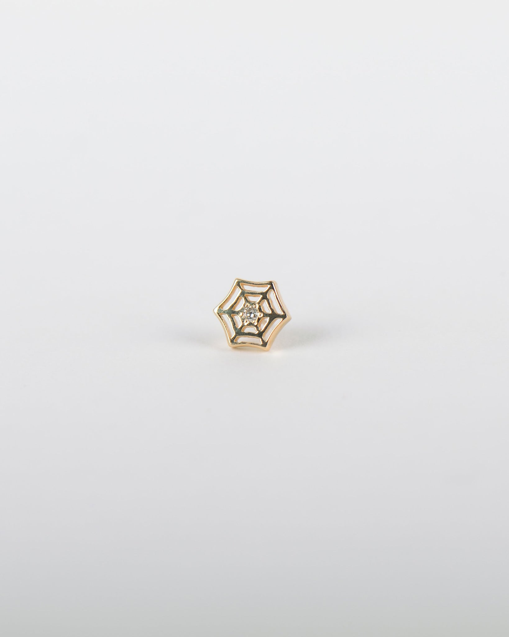Spider Web Earring in Yellow Gold with a Diamond