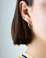 Classic Small Thick Hoops in Yellow Gold
