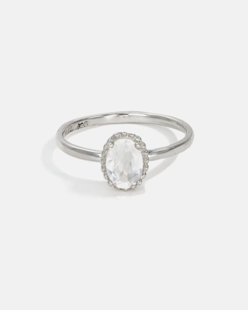 Galatée Oval Ring in Silver with White Topaz