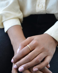 Crafted simple band with sphere details in 14K Yellow Gold Ring
