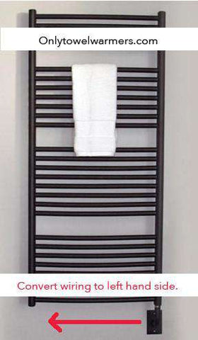Tuzio Towel Warmer: Wiring Converted to the Left Hand Side
