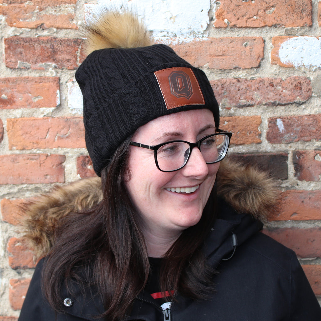 Black Cable Knit Toque Beanie with Pom