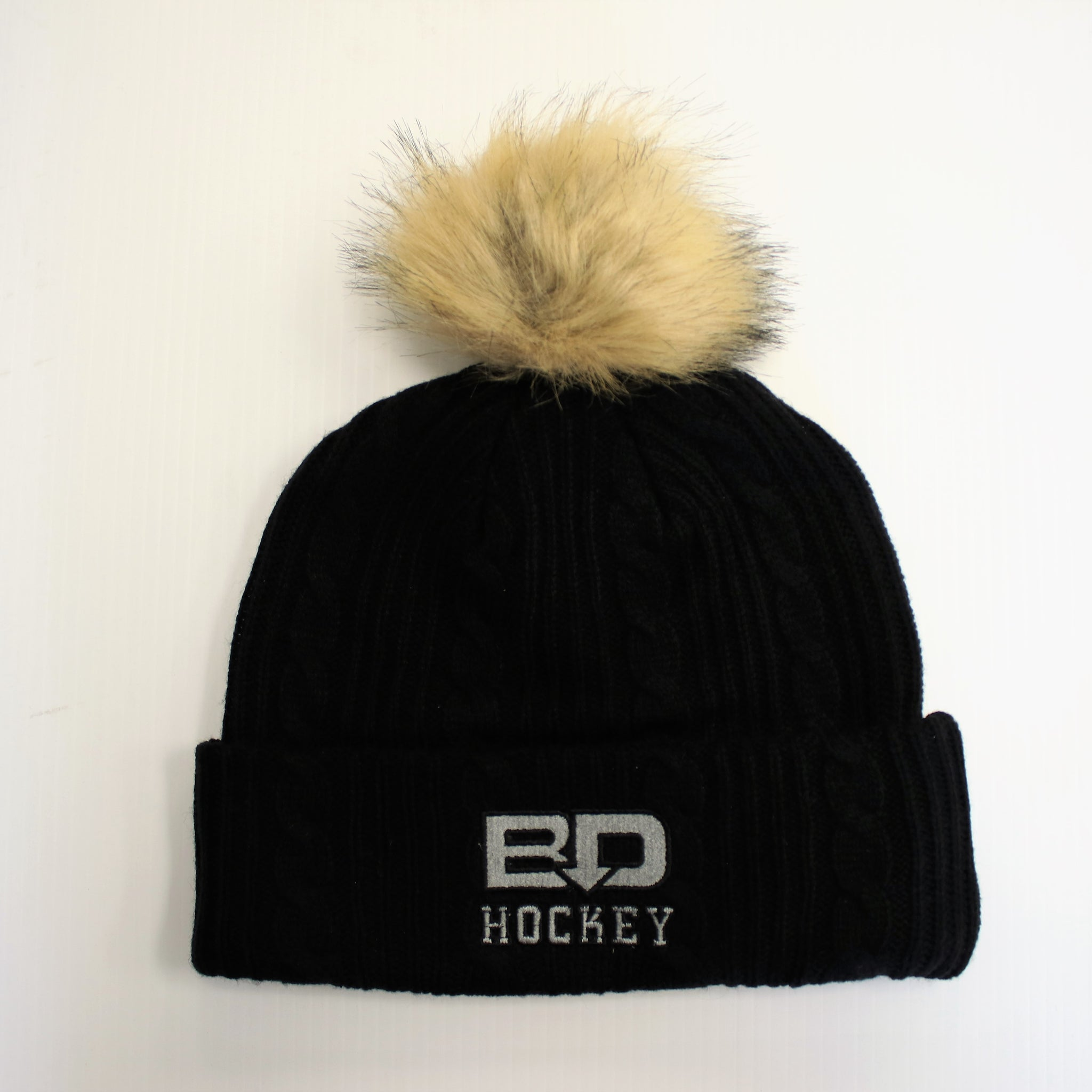 Black Cable Knit Toque Beanie with Pom Bardown Logo