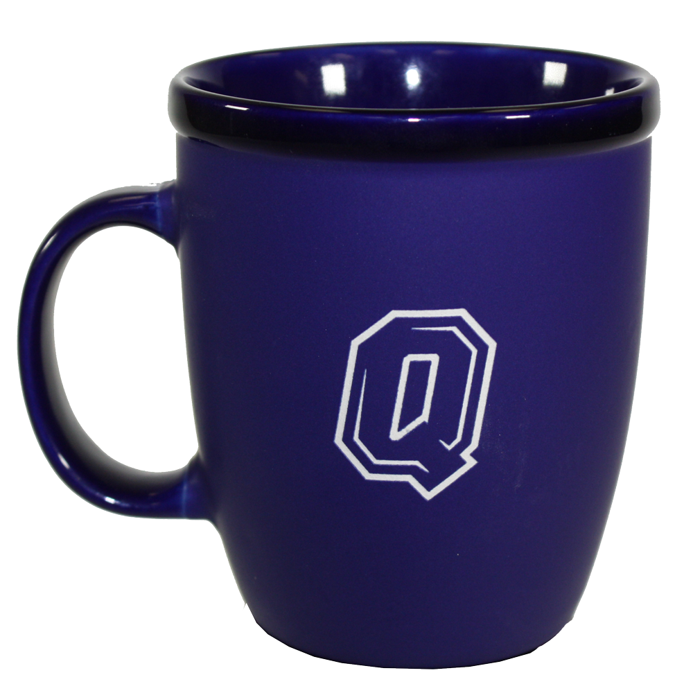 Navy Blue Ceramic Mug with Queen's Logo