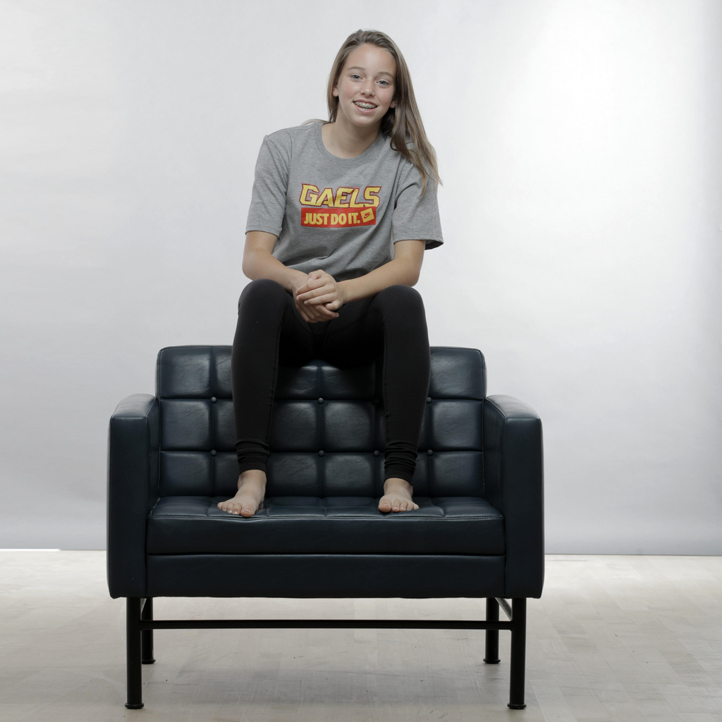 Just Do It Gaels T-Shirt Female Model on Seat
