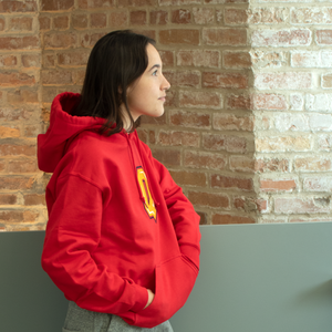 Red Q Hoodie with Female Model