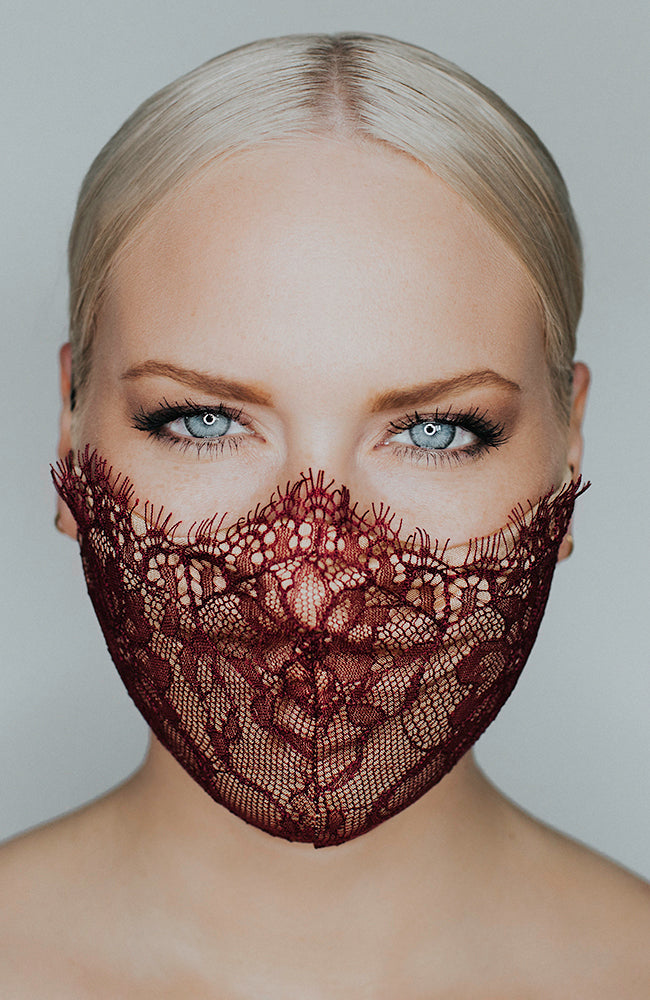 Model wearing Provocatuer coronavirus face mask in bordeaux with lace by Katie May