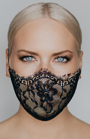 Model wearing Provocatuer coronavirus face mask in navy with lace by Katie May
