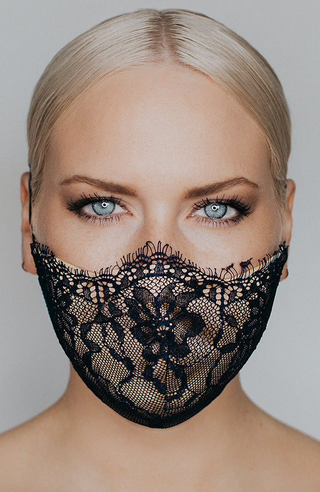 Model is wearing Provocateur mask in Navy/Nude by Katie May