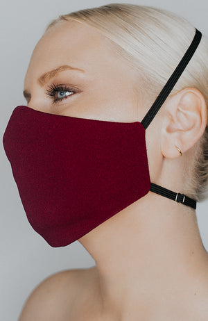 Model wearing Protected AF mask in Bordeaux by Katie May
