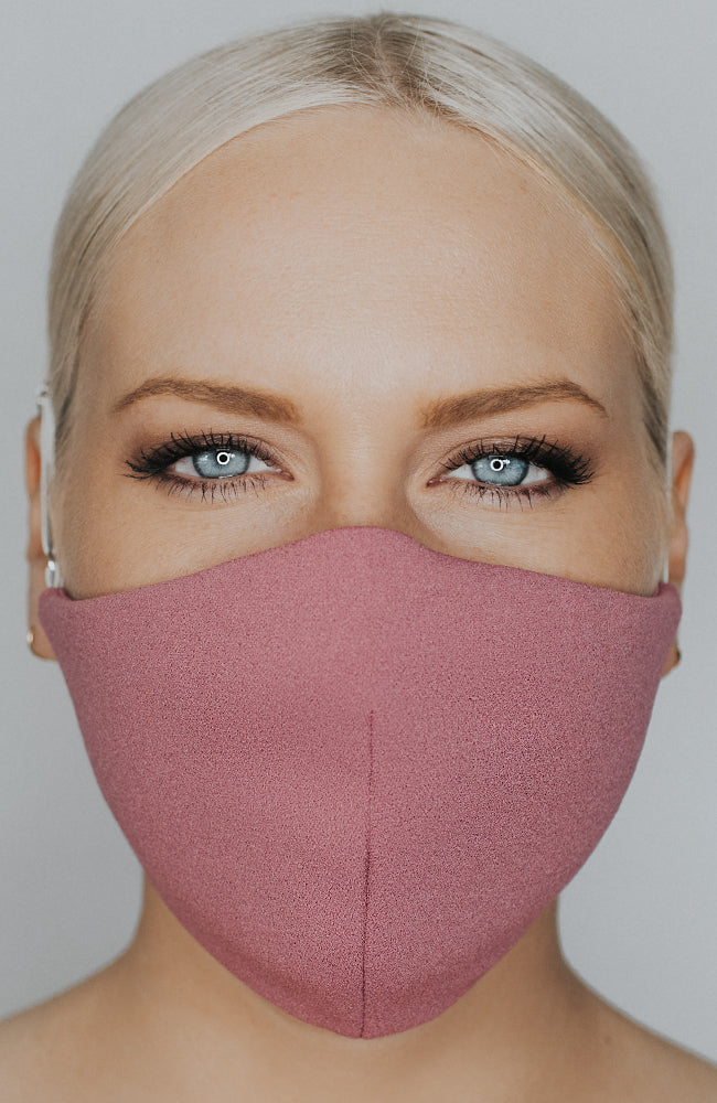 Model wearing Protected AF mask in Mulberry by Katie May